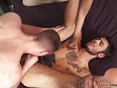 Ari gets up on his knees and elbows, raising that ass for Brandon so he can get nice and deep as Brandon dominates that tight hole, fucking him so hard before trying another position.  Brandon gives Ari�s sore hole a break, pausing to run his tongue along