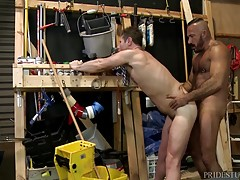 Once his ass is dripping with saliva Alessio shoves his throbbing cock deep inside and begins to fuck Luke. Luke is taking it hard and deep from Alessio and then he rides his cock up and down squeezing his ass to tighten up on Alessio`s hard dick.