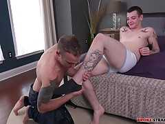 Ryan gets on all fours and spreads that ass, letting Romeo give him a rimjob before taking Romeo�s thick meat in his tight hole.  Romeo jams his bareback member into Ryan�s hole, fucking him hard while Ryan moans for more of that amazing dick.  Romeo flip