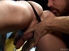 Tommy then sucks Max`s fat cock and afterwards Max prepares Tommy`s ass with his wet tongue for his cock to penetrate him. He fucks Tommy slowly building up momentum with each position they end up in. As lies Tommy on his back and fucks the cum right out