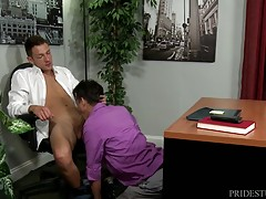 Sasha tells Alan to bend over his desk and play with his ass while he watches stroking his throbbing dick.