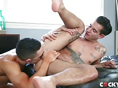 Ricky follows Beau to the day bed and continues to suck him off as he lies back. Propped up on his elbows Beau watches as contented Ricky, with his tempting ass raised up in anticipation of something more, gives him a thorough blowjob. You might not be un