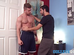 Adrian Joseph takes a long time to appreciate all the hard work that Ryan Sparks has put into his body, running his hands along Ryan�s chiseled abs and bulging biceps as he places some kisses across those muscular arms.  Adrian invites Ryan to lie back on