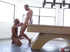 Josh responds to the pleasure by kissing Sean and turning him around to dry hump his hot ass get him on his back to suck his cock. But, Josh really wants Sean`s muscular ass and when he gets him on all fours on top of the table, he feasts on his smooth ho